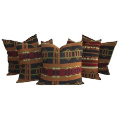 Collection of 19th Century Horse Blanket Pillows / 5 Pieces
