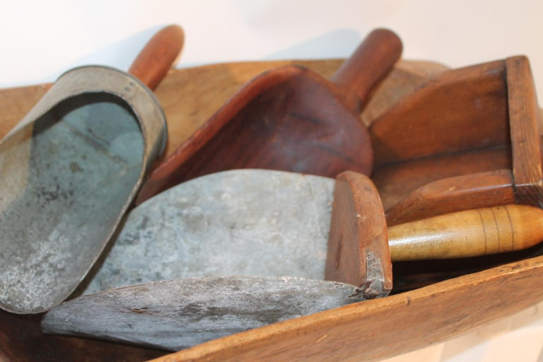 Country Collection of 19th Century Scoops in Dough Bowl For Sale