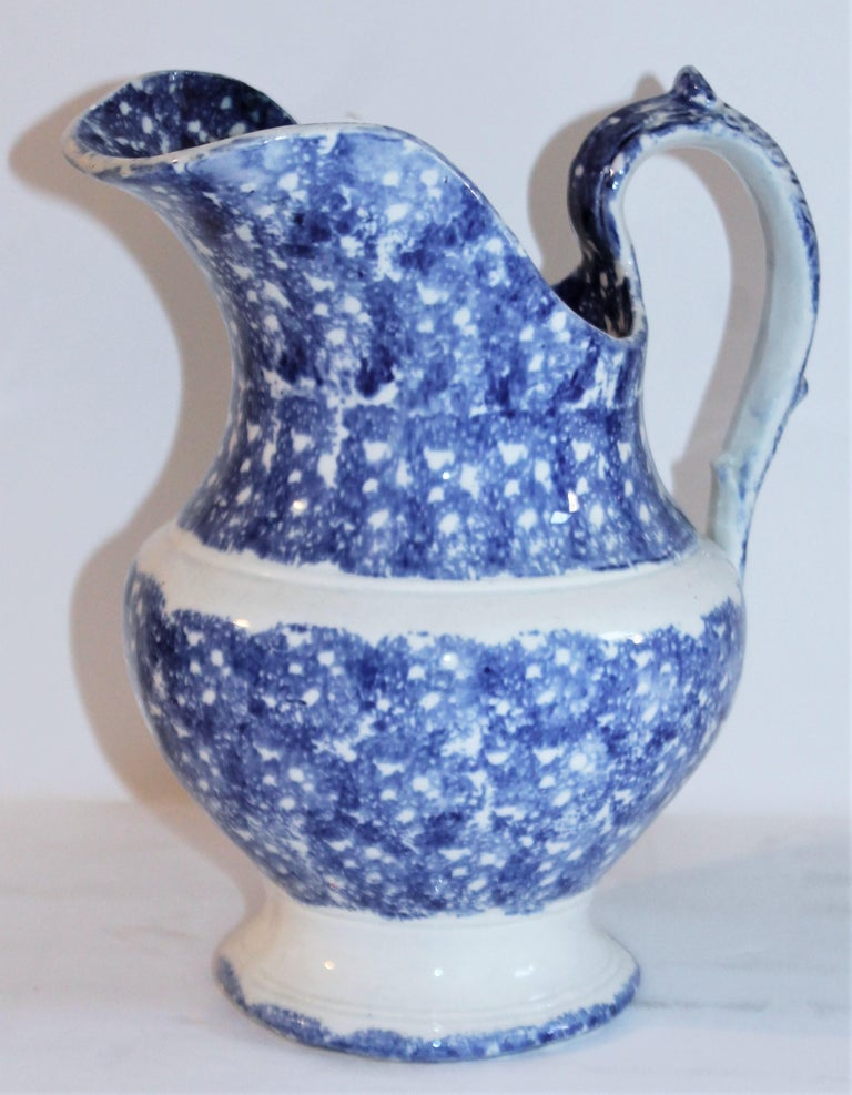 Folk Art Collection of 19th Century Spatter Ware Soft Paste Pitchers, 3 For Sale