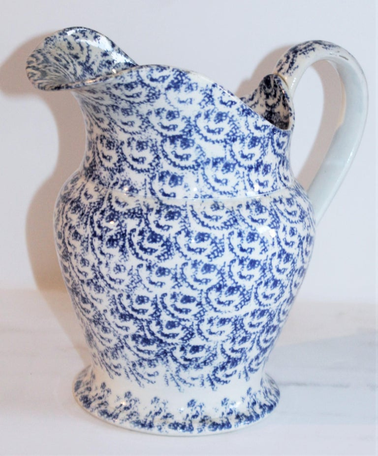 American Collection of 19th Century Spatter Ware Soft Paste Pitchers, 3 For Sale