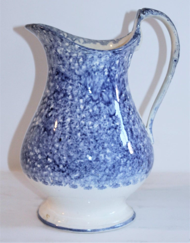 Hand-Crafted Collection of 19th Century Spatter Ware Soft Paste Pitchers, 3 For Sale
