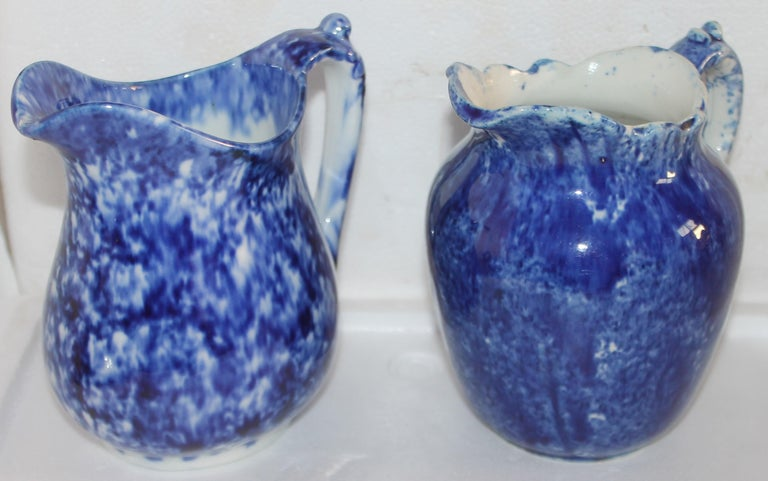 American Collection of 19thc Sponge Ware Pitchers, 6 Pieces For Sale