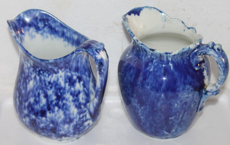 Collection of 19thc Sponge Ware Pitchers, 6 Pieces In Good Condition For Sale In Los Angeles, CA