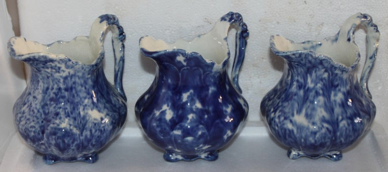 Collection of 19thc Sponge Ware Pitchers, 6 Pieces For Sale 1