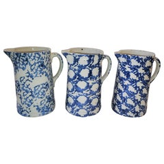Collection of 19thc Sponge Ware Pitchers in Unusual Patterns -3 Pcs