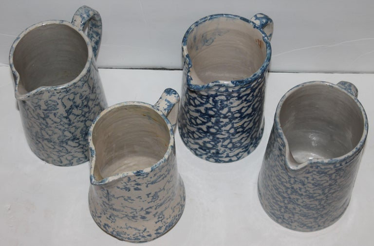 Country Collection of 19th Century Sponge Ware Pottery Pitchers-4