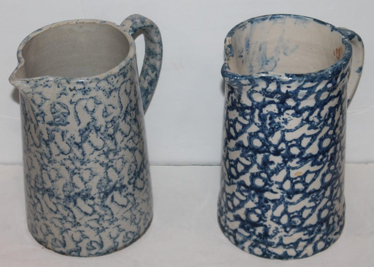 American Collection of 19th Century Sponge Ware Pottery Pitchers-4