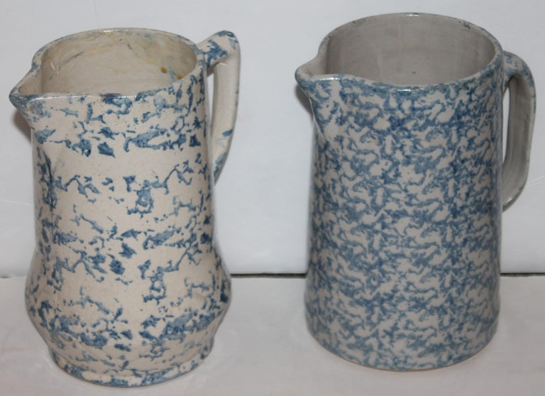 Collection of 19th Century Sponge Ware Pottery Pitchers-4 1