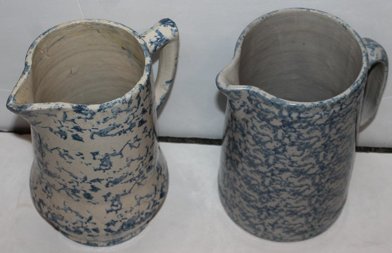 Collection of 19th Century Sponge Ware Pottery Pitchers-4 2