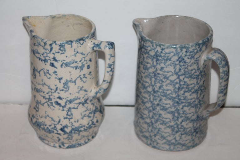 Collection of 19th Century Sponge Ware Pottery Pitchers-4 3