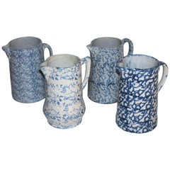 Collection of 19th Century Sponge Ware Pottery Pitchers-4