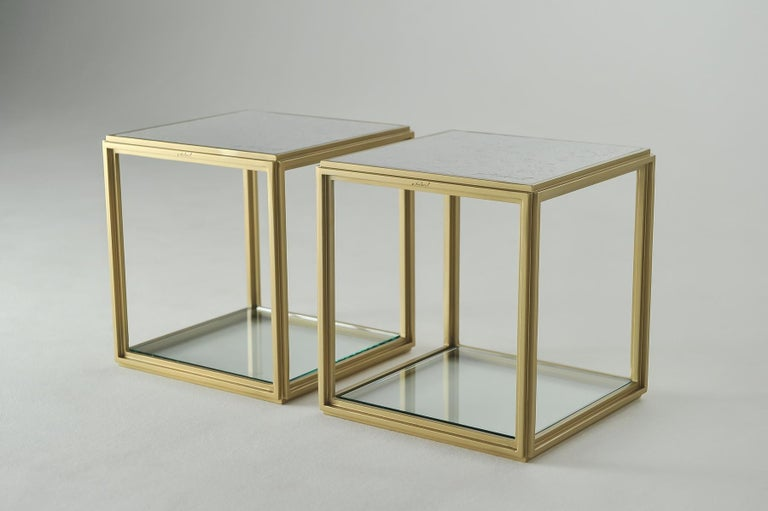 Minimalist Collection of 2 Brass Low Tables, Sandcast Aluminum Textured White Top in Stock For Sale