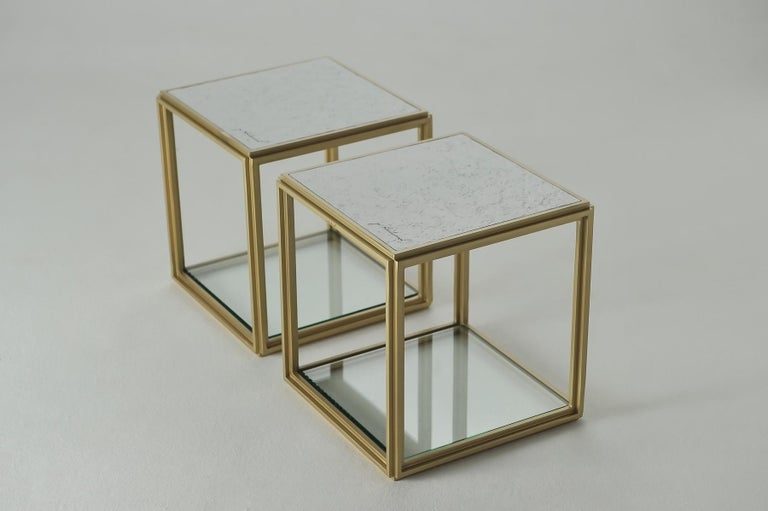 Thai Collection of 2 Brass Low Tables, Sandcast Aluminum Textured White Top in Stock For Sale