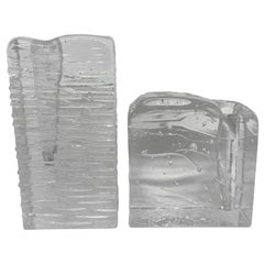 "Collection of 2 Ice Block Glass ""Solifleur"" Vases, German, 1960s"