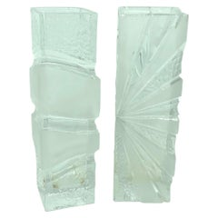 Collection of 2 Ice Block Glass Vases, German, 1980s