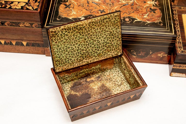 Collection of 20 Antique Turnbridge Wells Inlaid Wood Boxes & Accessories For Sale 10