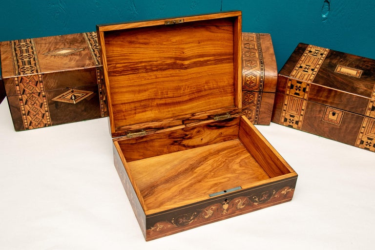 Collection of antique inlaid boxes and accessories, mostly Turnbridge Wells, 18th & 19th century. The largest box measures length 9 3/4