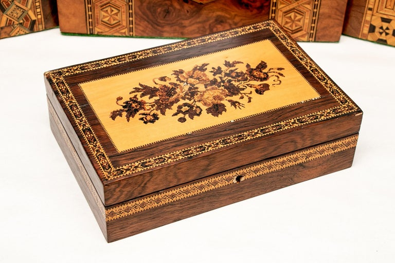 Collection of 20 Antique Turnbridge Wells Inlaid Wood Boxes & Accessories For Sale 15