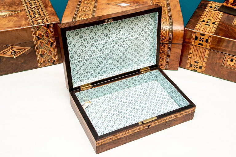 George III Collection of 20 Antique Turnbridge Wells Inlaid Wood Boxes & Accessories For Sale