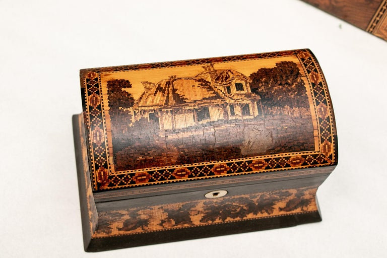 19th Century Collection of 20 Antique Turnbridge Wells Inlaid Wood Boxes & Accessories For Sale