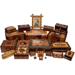 Collection of 20 Antique Turnbridge Wells Inlaid Wood Boxes & Accessories