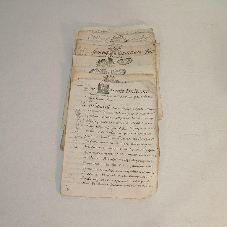 Collection of 20 French, 17th-18th Century Manuscripts In Fair Condition For Sale In Amsterdam, NL