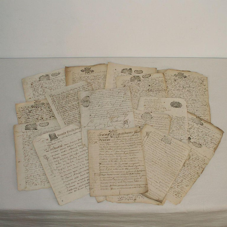 18th Century and Earlier Collection of 20 French, 17th-18th Century Manuscripts For Sale