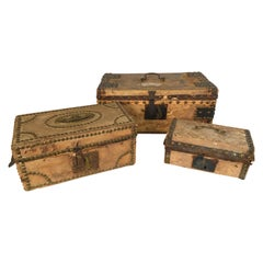Collection of 3 Early Parchment Covered Boxes