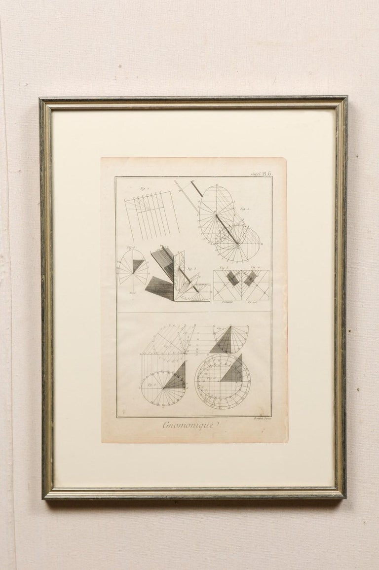 French Collection of 3 Framed 18th Century Bernard Direx Geometric Renderings For Sale