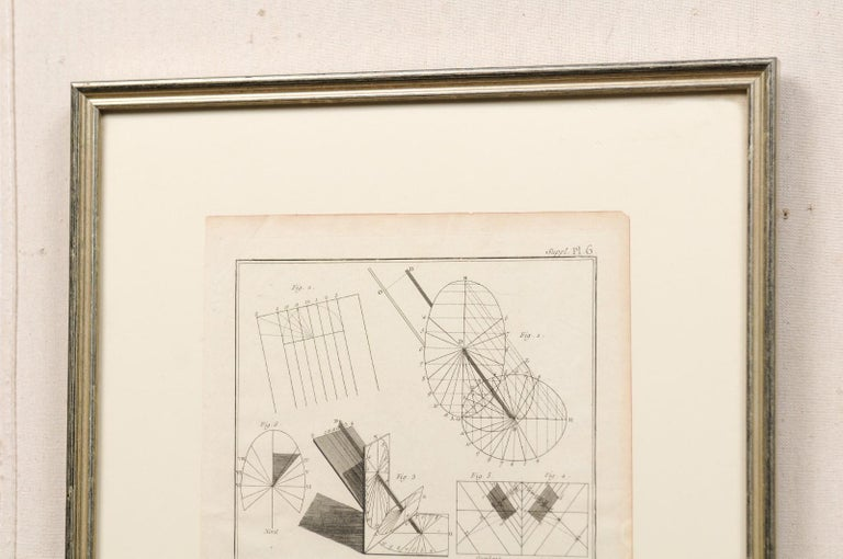 Collection of 3 Framed 18th Century Bernard Direx Geometric Renderings In Good Condition For Sale In Atlanta, GA