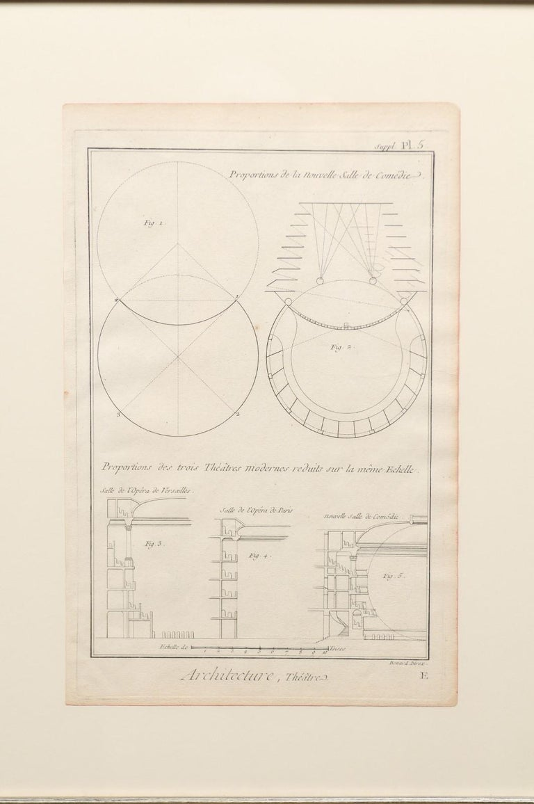 Collection of 3 Framed 18th Century Bernard Direx Geometric Renderings For Sale 1