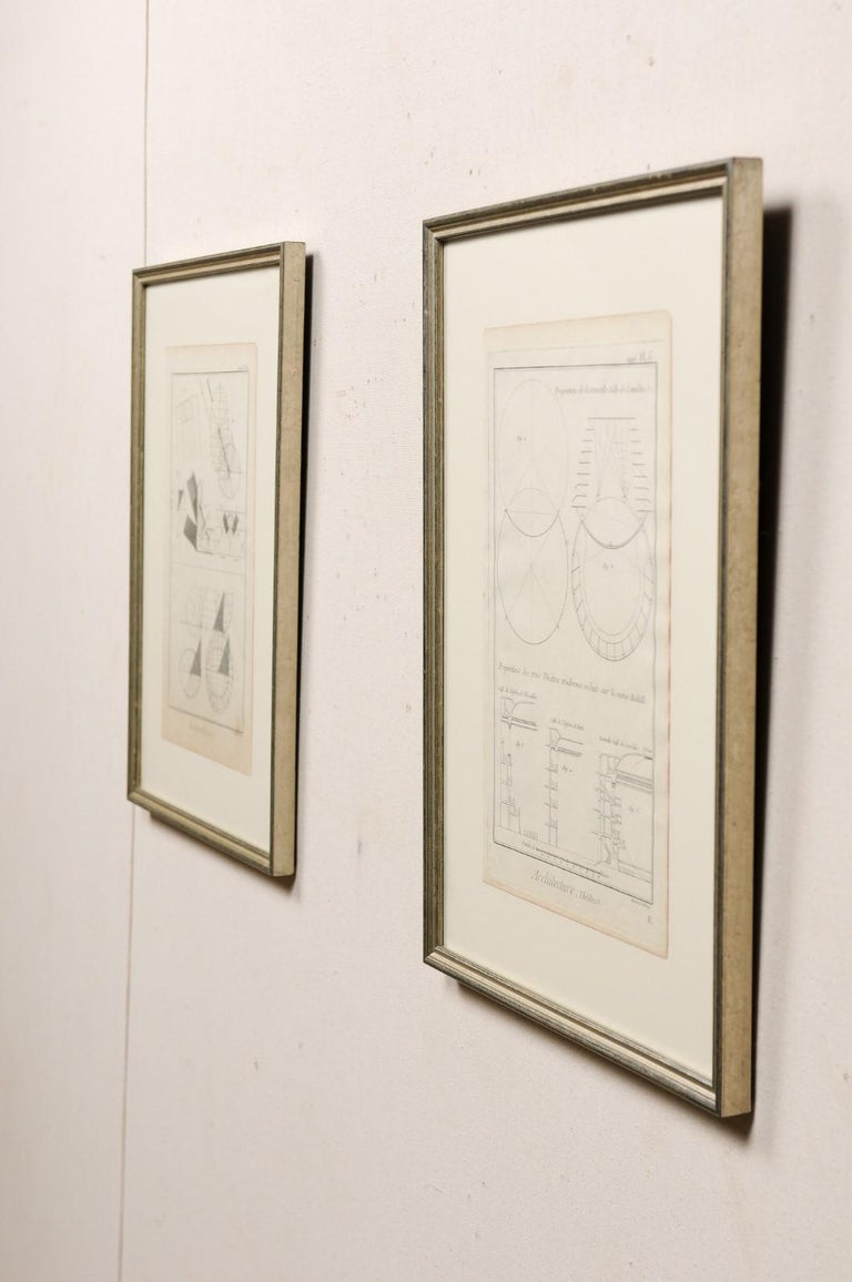 Collection of 3 Framed 18th Century Bernard Direx Geometric Renderings For Sale 2