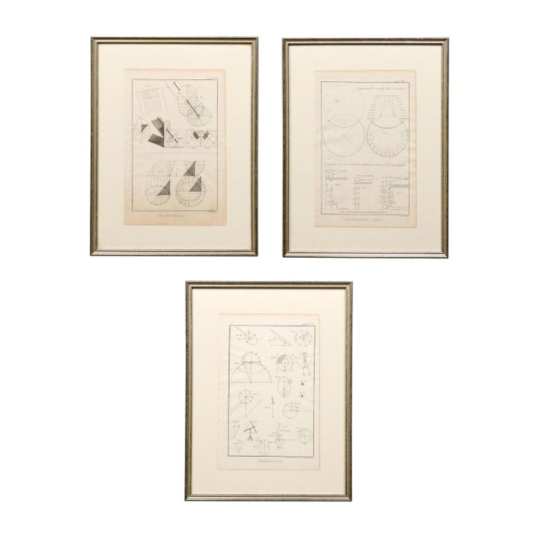 Collection of 3 Framed 18th Century Bernard Direx Geometric Renderings For Sale
