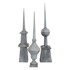Collection of 3 French 19th Century Zinc Roof Finials