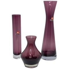 Collection of 3 Ingrid Glass Vases in Purple Color, 1970s