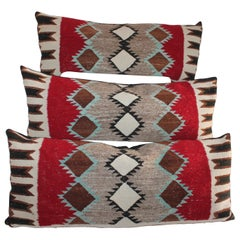 Collection of 3 Navajo Indian Weaving Bolster Pillows