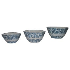 Collection of 3 of Decorated 19thc Sponge Mixing Bowls
