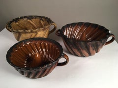 """Collection Of 3 Pennsylvania Redware """"Turk's Head"""" Cake Molds, 18th C."""