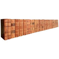 Collection of 32 Scandinavian Antique Leather-Bound Books
