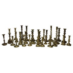 Collection of 32 Vintage and Antique Brass Candlesticks