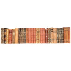Collection of 34 Scandinavian Antique Leather-Bound Books