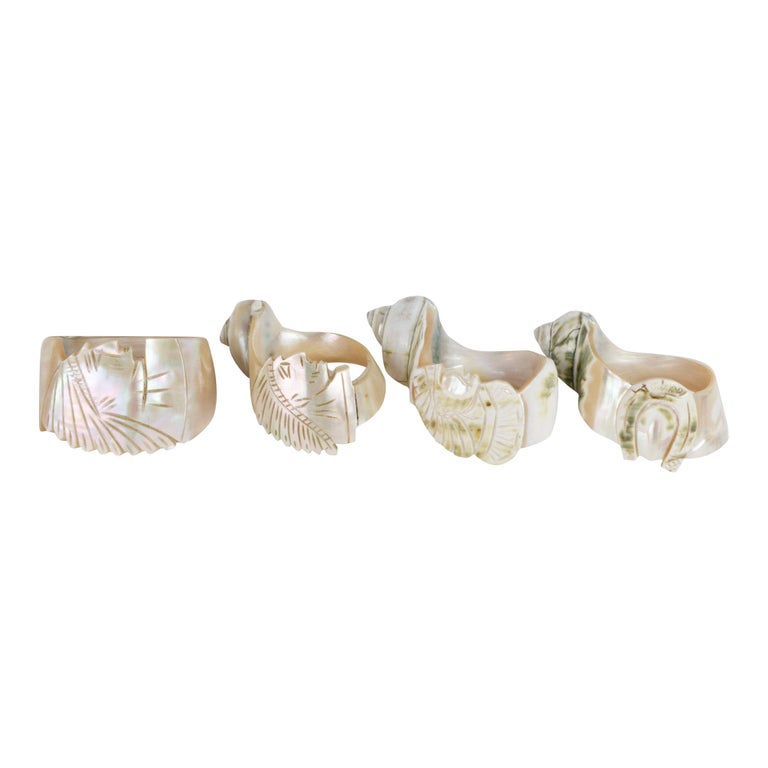 Collection of 4 1890s Carved Conch Napkin Rings For Sale