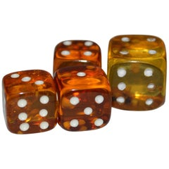 Collection of 4 Baltic Mid-Century Modern Natural Amber Dice