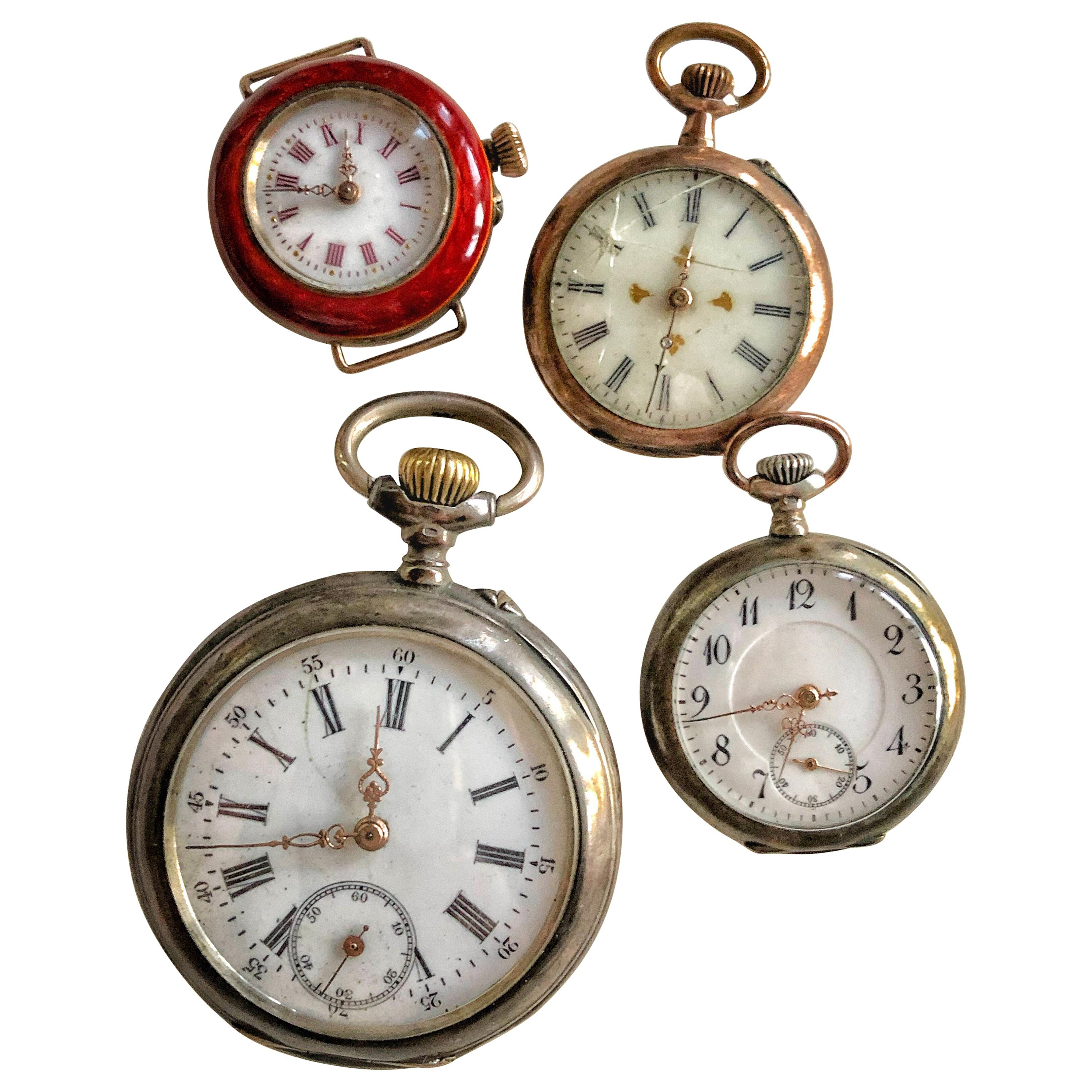 Collection of 4 Pocket Breguet Silver, Gold Watches, Enamel Pearls, Swiss SALE