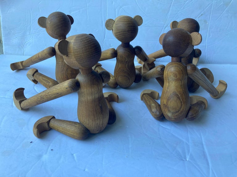 Modern Collection of 5 Articulated Wooden Monkeys/Toys/Sculptures in Style of Bojesen For Sale