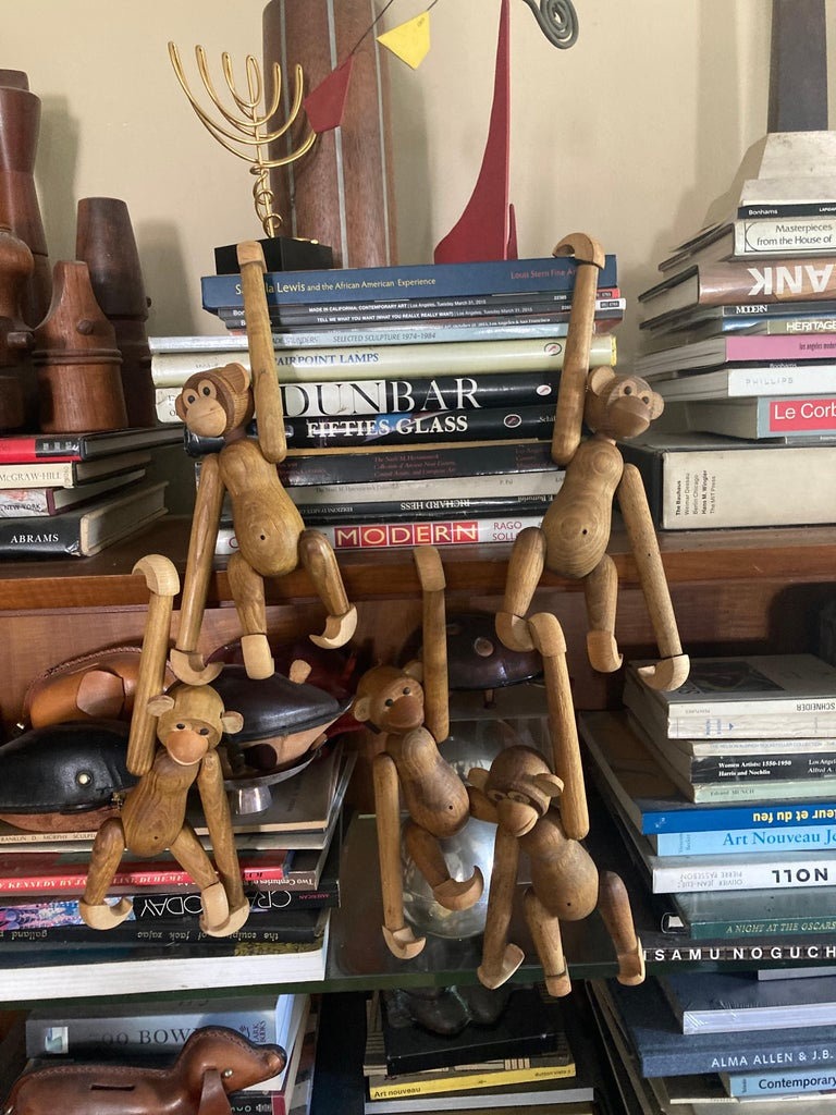 Japanese Collection of 5 Articulated Wooden Monkeys/Toys/Sculptures in Style of Bojesen For Sale