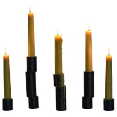 Collection of 5 Cast Iron Decorative Blackened Handmade Candlestick Accessories