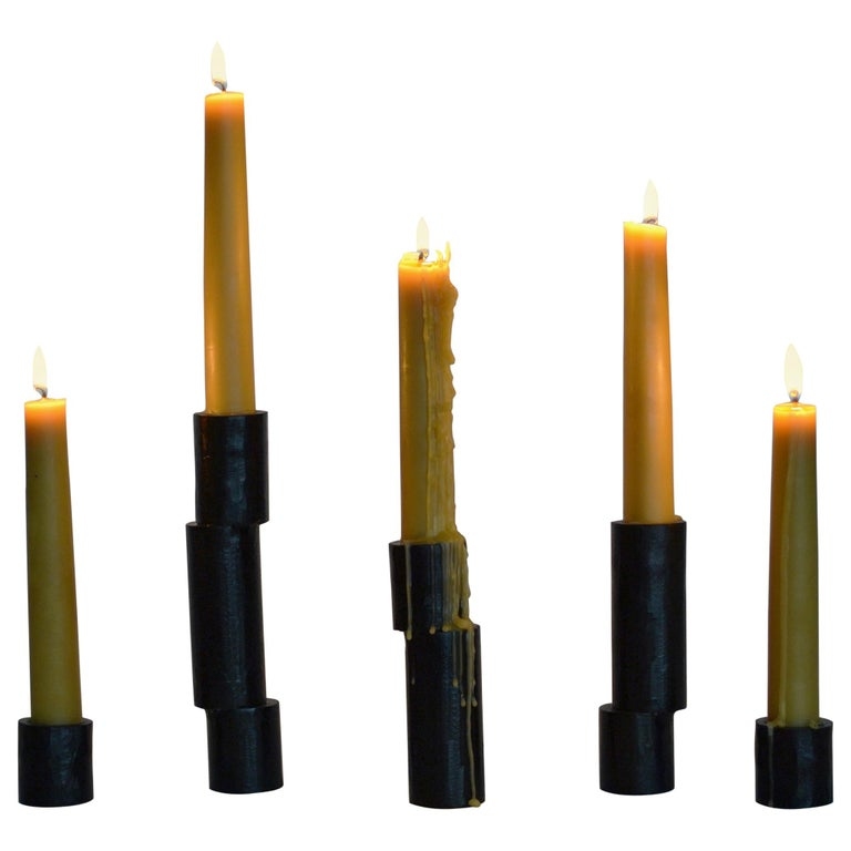 Collection of 5 Cast Iron Decorative Blackened Handmade Candlestick Accessories For Sale