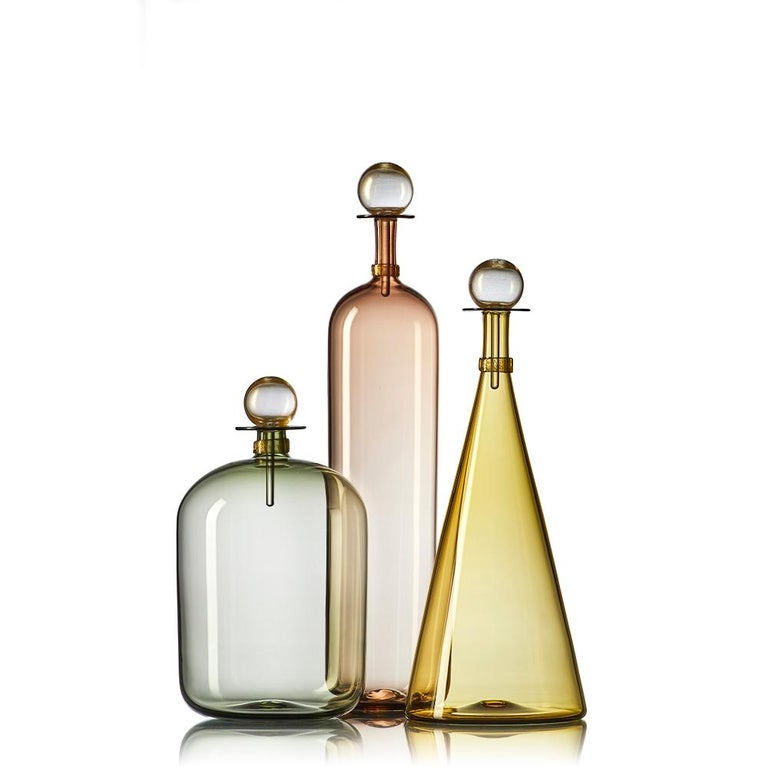 Mid-Century Modern Collection of 5 Large Hand Blown Glass Carafes in Smoke Colors by Vetro Vero For Sale