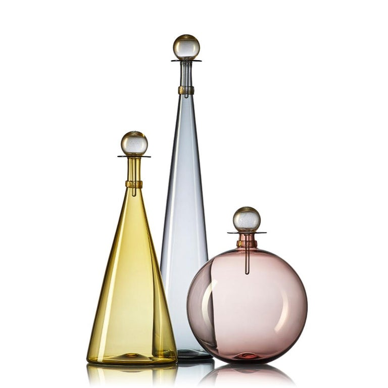 American Collection of 5 Large Hand Blown Glass Carafes in Smoke Colors by Vetro Vero For Sale